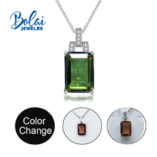 Bolaijewelry,Color change Gemstone pendant 925 sterling silver created diaspore zultanite colorful for daily wear