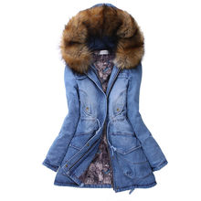 Womens Denim Jacket Winter Warm Long Thick Fur Collar Hooded Down Jacket Slim Winter Warm Jeans Coat New Arrival Feminine Coat(China)