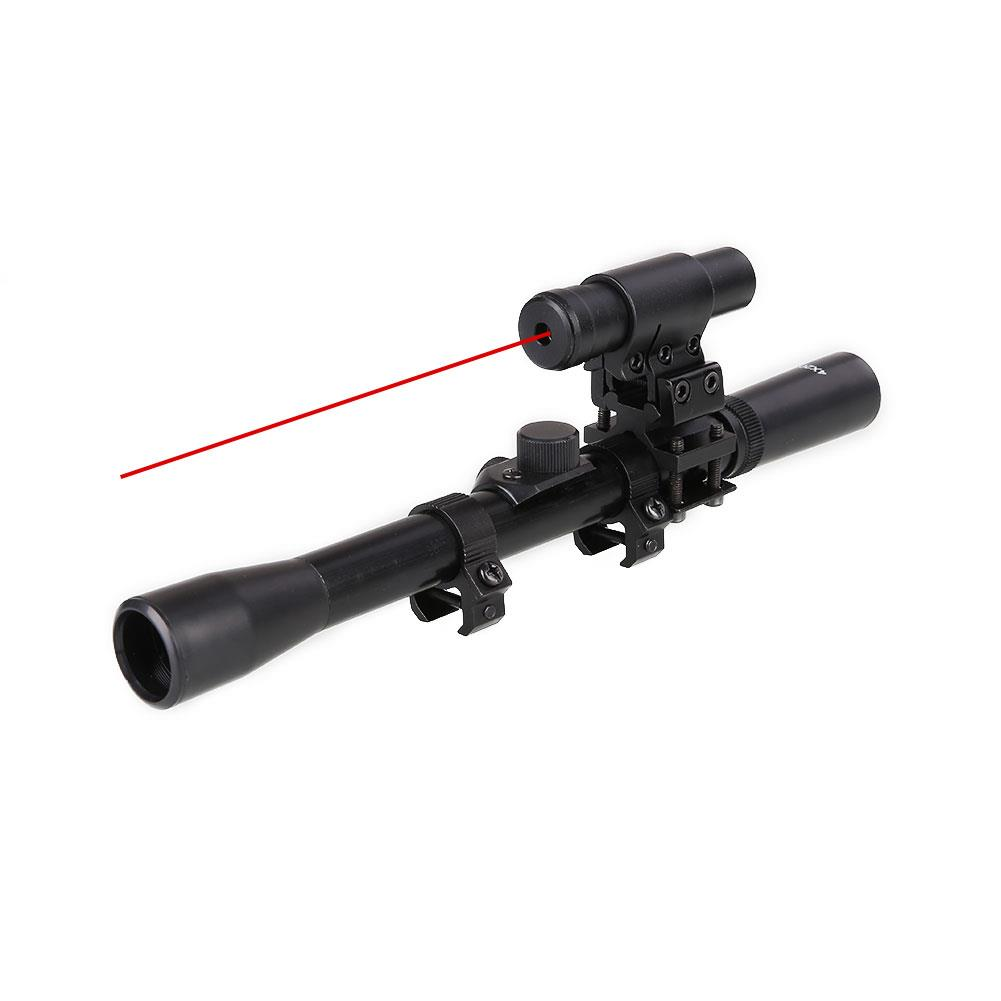 Tactical 4x20 Rifle Optics Scope Riflescope With Red Dot Laser Sight And 20mm Rail Mounts