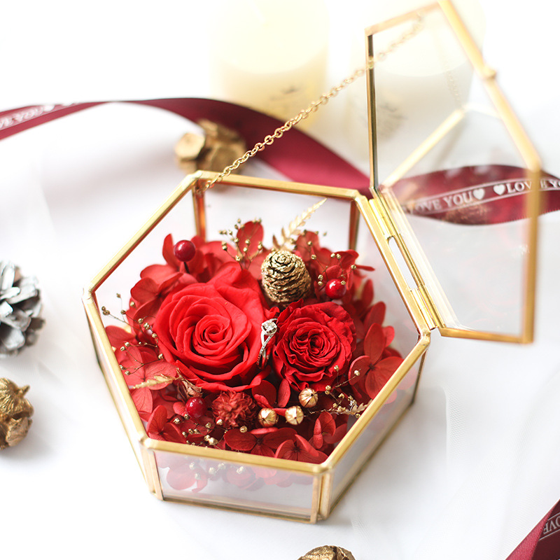 017 Yongsheng flower ring box jewelry packaging necklace gift box rose send girlfriend birthday gift gift box in Gift Bags Wrapping Supplies from Home Garden