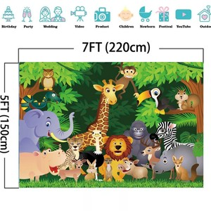 Image 4 - Laeacco Jungle Party Photophone Tropical Forest Trees Animals Photography Backdrops Photo Backgrounds Baby Birthday Photocall