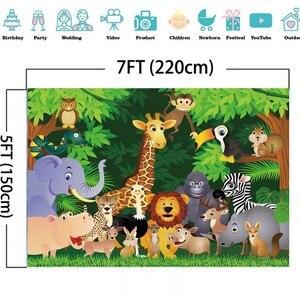 Image 4 - Laeacco حفلة الغابة Photophone أشجار الغابات الاستوائية الحيوانات خلفيات للتصوير الفوتوغرافي صور خلفيات عيد ميلاد الطفل صور