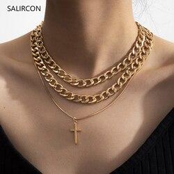 Женское Ожерелье-чокер Salircon, многослойное колье в стиле стимпанк, золотистого цвета