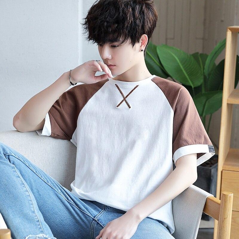 T-shirt dos homens com mangas curtas verão sete XueShengChao masculino maré ulzzang solto cinco e meia manga roupas de marca