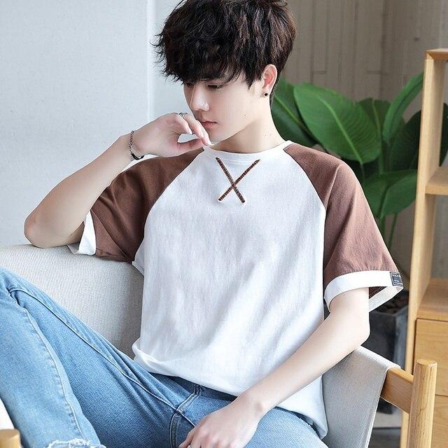 여름 남성 t 셔츠 짧은 소매 7 남성 ulzzang 조수 느슨한 5 및 절반 슬리브 xueshengchao 브랜드 의류