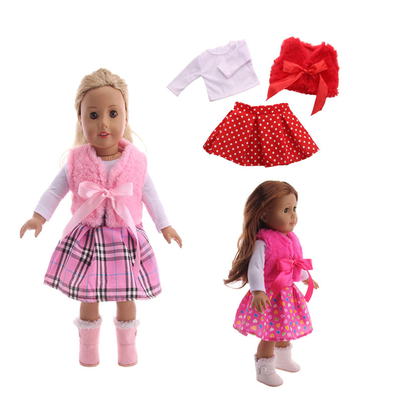3 Pieces American Doll Clothes Cute Winter Vest T-shirt Dress Suit For 43 Cm Dolls And 18-Inch Doll Toy Accessories