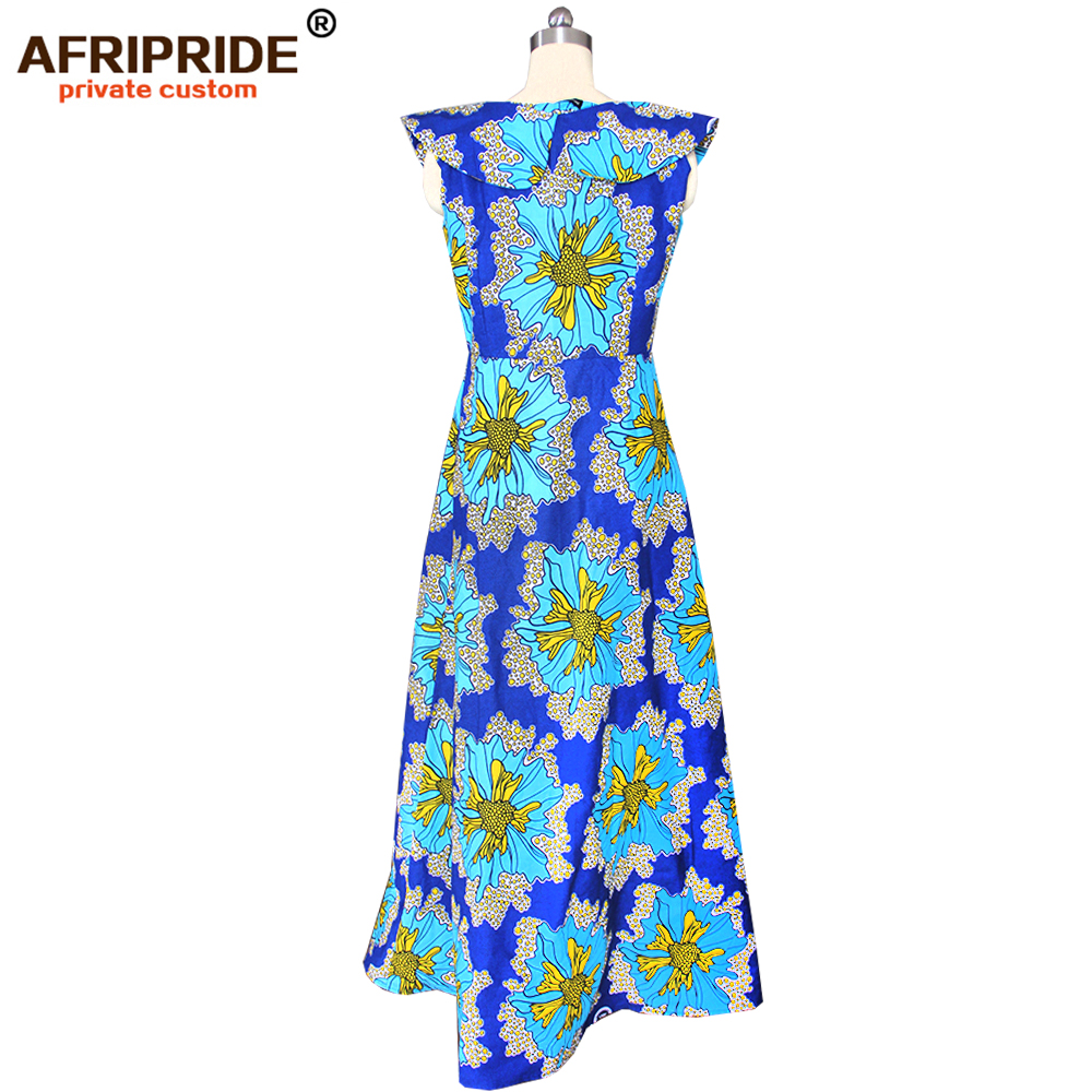 2019 african dresses for women AFRIPRIDE tailor made ankara print sleeveless floor length women casual cotton dress A1825088