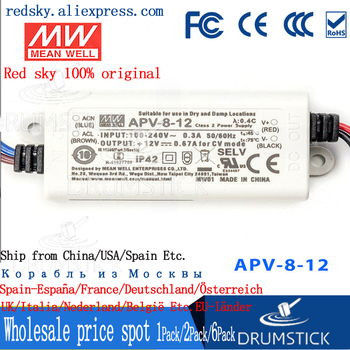(Only 11.11)MEAN WELL APV-8-12 (12Pcs) 12V 0.67A meanwell APV-8 12V 8.04W Single Output LED Switching Power Supply