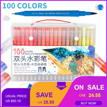 12/24/36/48/60/72/100Color Dual Brush Marker Pen Fineliner Watercolor Drawing Marker for Coloring Books Calligraphy Art Supplies new soft brush fineliner calligraphy twin marker black ink drawing sketch brush marker pen arts supplies