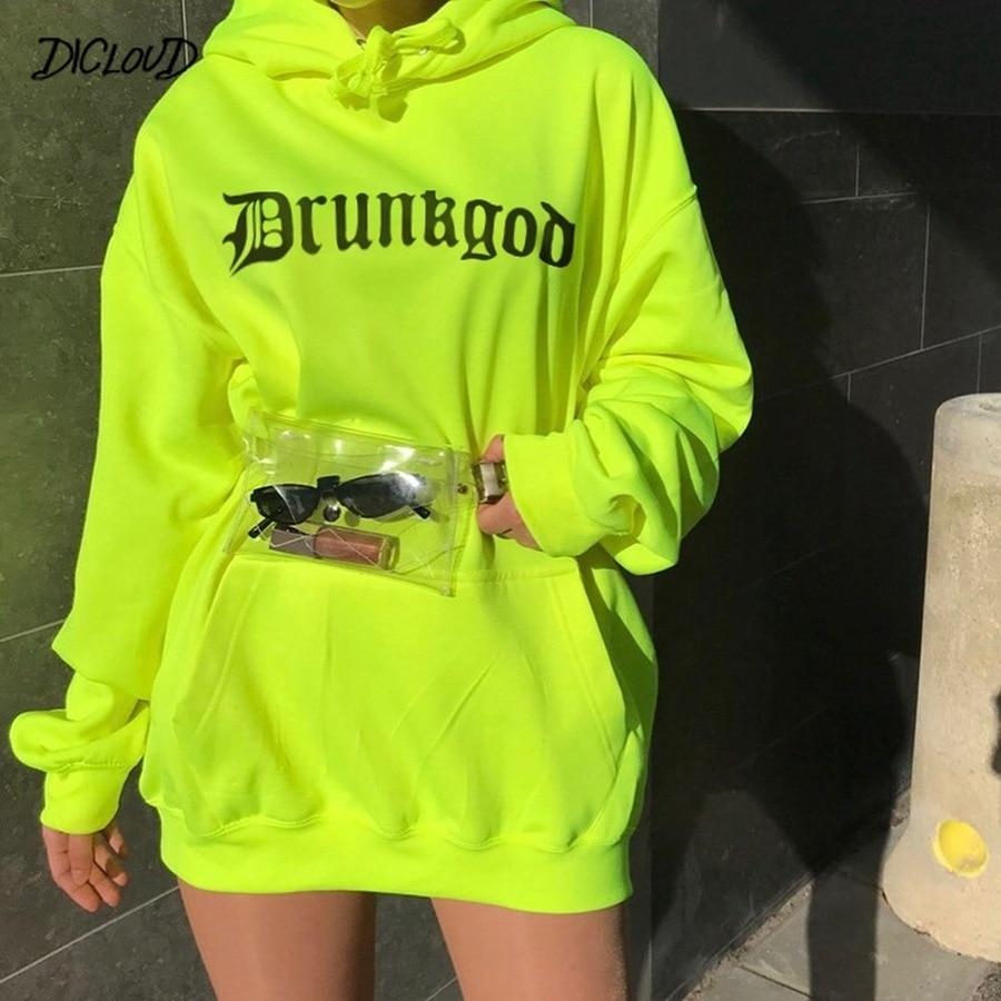 Casual Hoodie Women Fashion 2019 Drop Shoulder Sleeve Loose Sweatshirts Female Harajuku Print Street Boyfriend Style Pullover