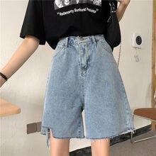 2021 novo feminino solto denim shorts cintura elástica rasgado calças quentes fina cintura alta de cinco pontos calças de brim curtas para a menina verão