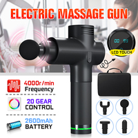 4000r/min Body Massage Electric Vibrating Therapy Guns 20 Files LED Relaxation Massage Machine Relax Muscle Massager + 4 Heads