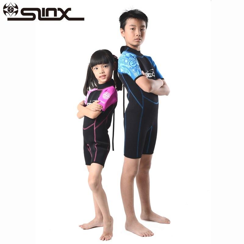 Slinx 2mm néoprène enfants Shorty combinaison garçons filles nager plongée sous-marine combinaison humide plongée en apnée Surf usure éruption garde tissu maillot de bain enfants