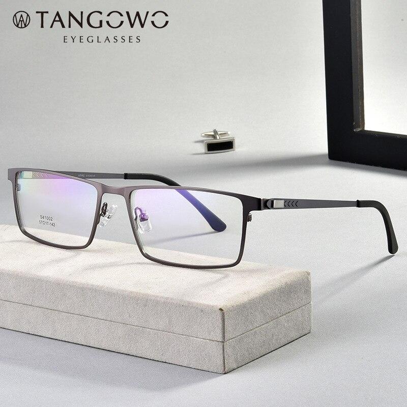 TANGOWO Alloy Glasses Frame Men Women Vintage Rectangle Myopia Optical Frames Prescription Eyeglasses Screwless EyewearMens Eyewear Frames   -