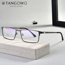 TANGOWO סגסוגת משקפיים מסגרת גברים נשים בציר מלבן קוצר ראיה אופטי מסגרות מרשם משקפיים ללא בורג Eyewear