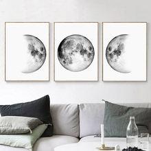 Минималистский холст картины Луна фазы стены искусства черные