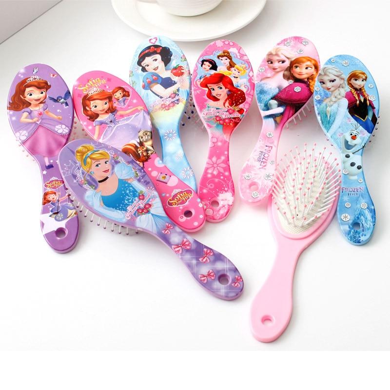 Disney Mickey Frozen Elsa Anna Princess Cartoon Children's Massage Hair Brushes Care Baby Girl Cute Air Comb Children Toys Gift