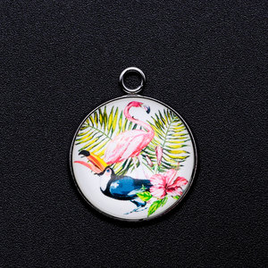 5 шт./лот, тропический фламинго, кабошон, ювелирный кулон, DIY, амулеты, оптовая продажа, ожерелье, изготовление шармов, Фабричный магазин, брас...