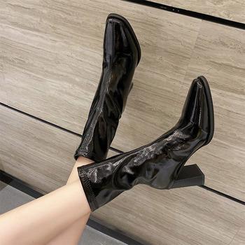 2021 nowych kobiet kolana wysokie buty środkowe kwadratowe Toe grube obcasy buty damskie Vintage skóra wygodne szycie oddychająca strona tanie i dobre opinie LLYGE Kwadratowy obcas Nowoczesne buty NYLON CN (pochodzenie) Na wiosnę jesień Do kolan Brytyjski styl ZSZYWANE Stałe