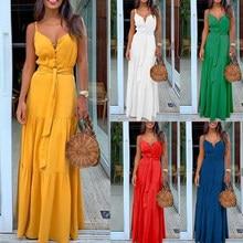 Robe longue d'été pour femmes, col en v, sans manches, à bretelles, à bandes, vêtements de plage, pour les fêtes