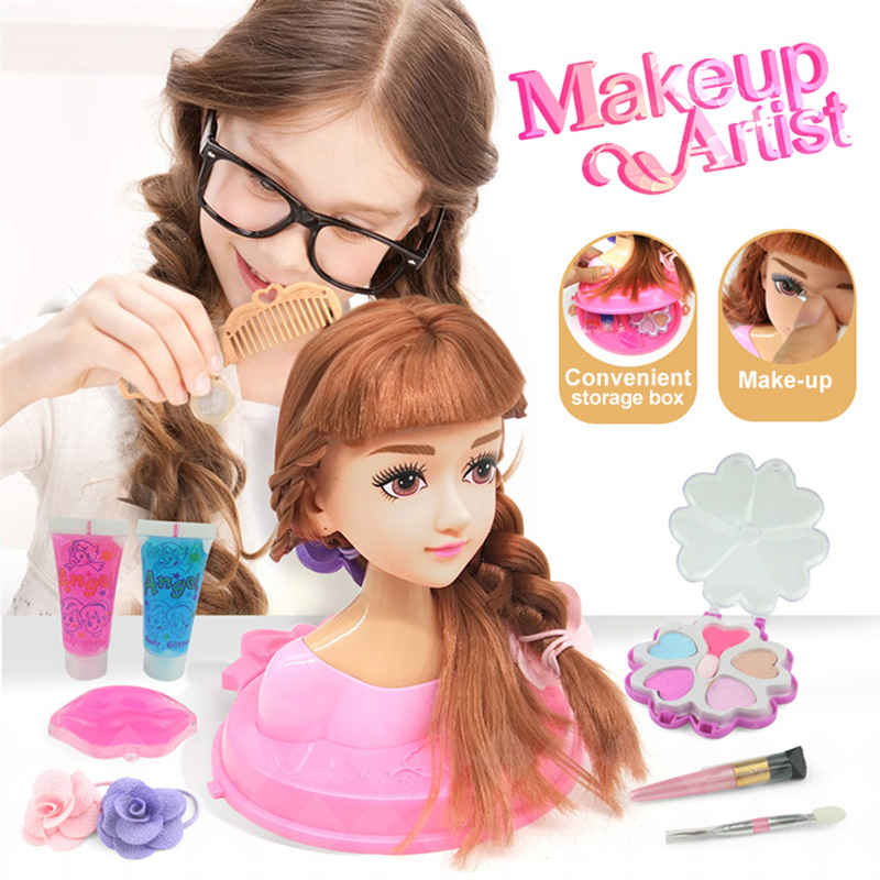 4 Types Makeup Artist Hairstylist Lovely Half Body Dolls With Cosmetic & Hair Accessories Set Girls Toys Children Birthday Gifts