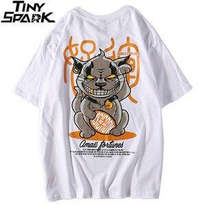 Image 3 - 2019 Hip Hop T Shirt Funny Evil Furtune Cat Print T shirts Men Harajuku Streetwear Summer Tshirt Cotton Short Sleeve Tops Tees