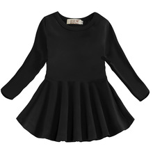 Dress for Girls School Casual Cotton Long Sleeve Princess Toddler Baby Girl Dress Clothes Spring Black Costume 1 2 3 4 5 6 Year