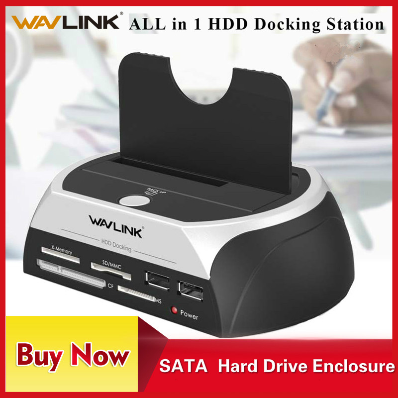 Wavlink All In 1 SATA HDD Docking Station Enclosure With Multi Card Reader Slot USB2.0 2.5/3.5 Inch Hard Drive Docking Station