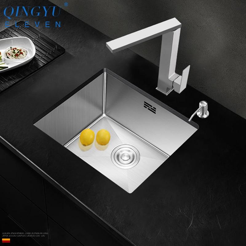Petite taille évier 304 acier inoxydable 3mm épaisseur Mini fait à la main brossé évier simple Bar comptoir balcon cuisine petit évier