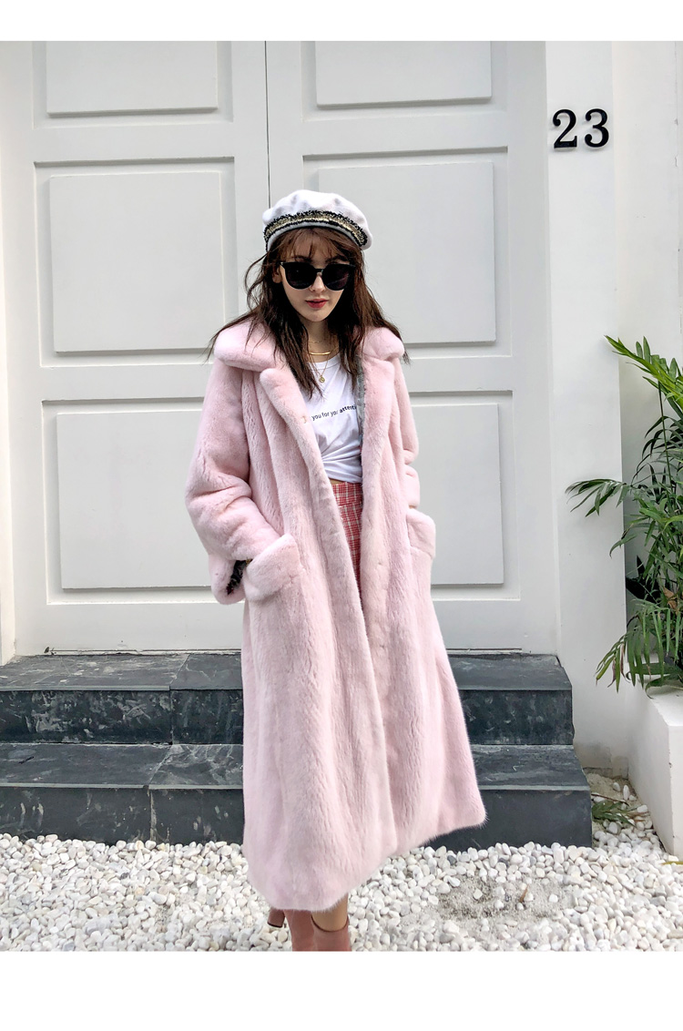 Imported Velvet Natural Mink Fur Overcoat With Belt Squre Collar Female Mink Coat Long Style Winter Fur Outerwear