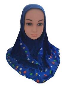 Image 3 - Fashion Kids Children Girls Muslim Flower Islamic Scarf Arabic Shawls Hats Arab Headscarf Head Cover Headwrap Caps Patchwork New