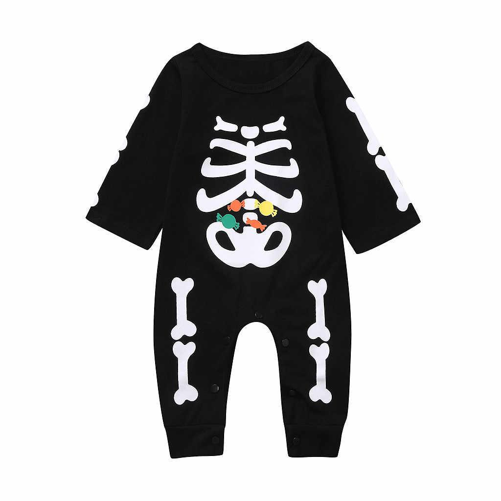 Baju Monyet Gadis Anak Laki-laki Halloween Tengkorak Cetak Kostum Lengan Panjang Jumpsuit Bayi Baru Lahir Romper Onesie Balita Kids Pakaian 2019 19Aug