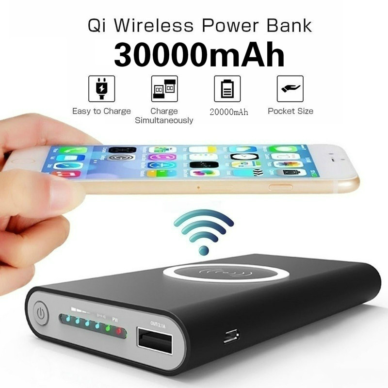 Power Bank Wireless Charger Large Capacity Mobile 30000mah Double USB External Battery Fast Charging Portable Charger title=