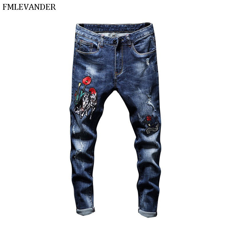 2019 New Fashion Design Mens Jean Stretch Blue Denim Embroidery Skinny Jeans Men