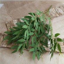 Artificial branco flor planta casamento buquê de flores de seda casa vaso decoração folha de salgueiro grama verde flores falsas