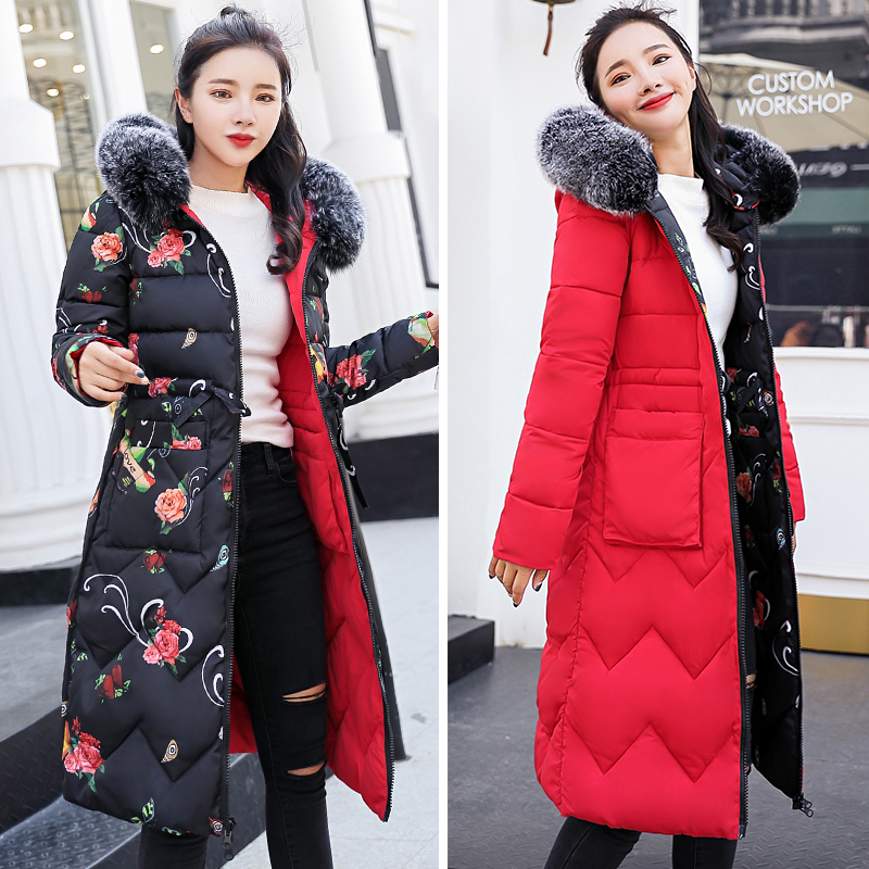 2019 Women Winter Coat Female Both Sides Can Be Worn Jacket Long Parka Hooded Fur Collar Padded Thick Slim Jackets 3