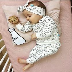 Bebê recém-nascido meninas roupas branco manga longa impressão de leite camiseta topos + calças bandana bonito 3 pçs outono infantil conjunto