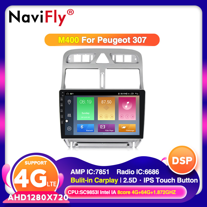 DSP IPS Android10 <font><b>Car</b></font> Multimedia player for <font><b>Peugeot</b></font> <font><b>307</b></font> 307CC 307SW 2002-2013 with 4G LTE wifi Carplay <font><b>USB</b></font> BT DVR Camera image