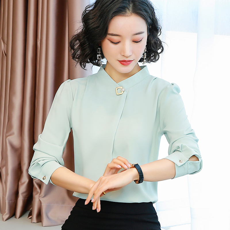 Solid Women's Blouse Long Sleeve Stand Collar Temperament Ladies Tops Blue Green Elegant Shirt Female Tunic Women Work Clothes
