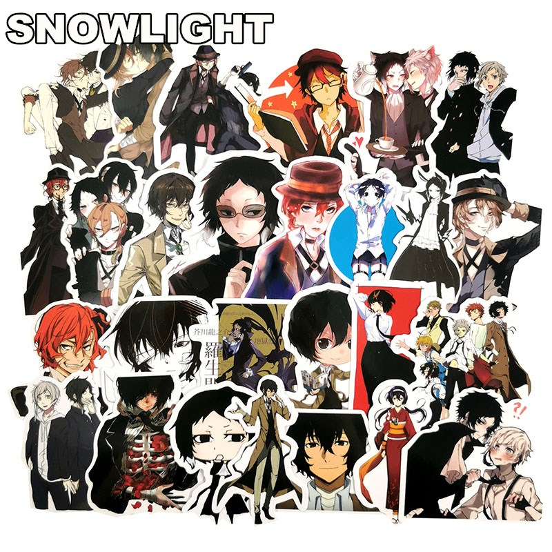50 Pcs/lot Japan Anime Bungou Stray Dogs Fashion Style Graffiti Stickers Guitar Skateboard Laptop Luggage Bicycle Motorcycle