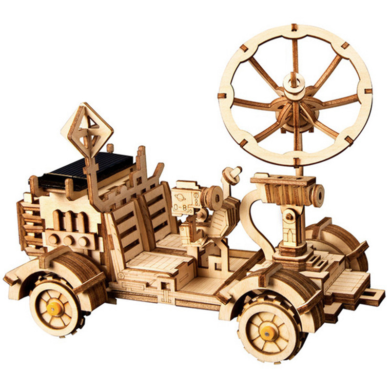 Robotime Moveable Moon Buggy Solar Energy Toy 3D Diy Cutting Wooden Model Building Kits Gift For Children Adult LS401