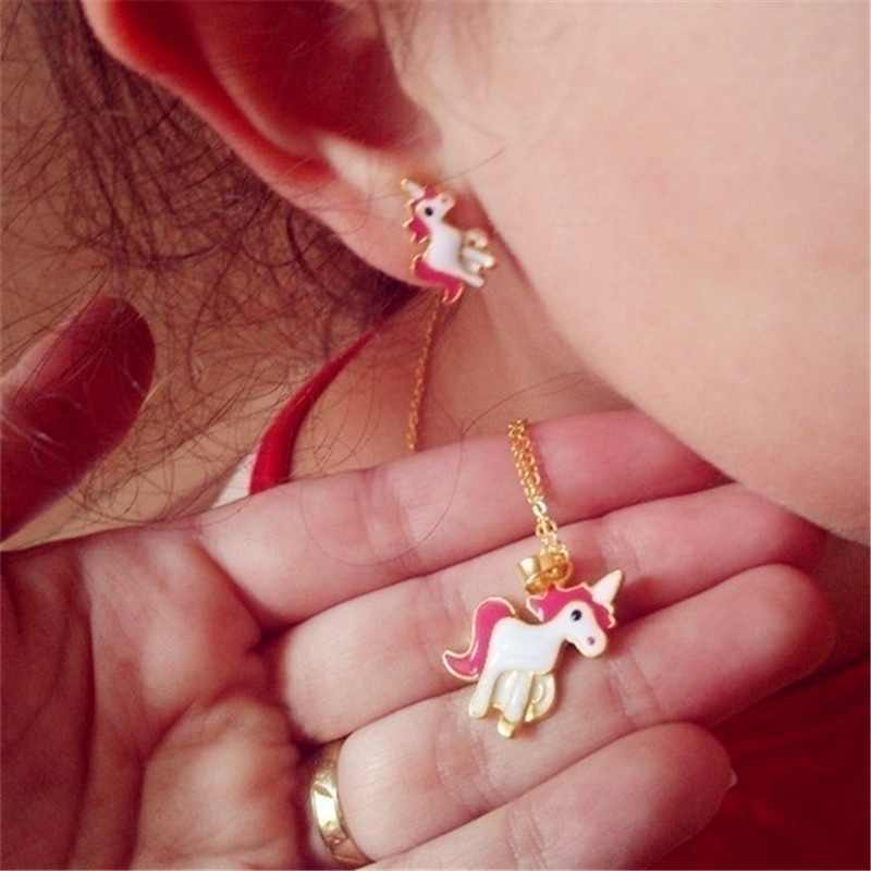 4 יח'\סט שרשרת עגילי Cartoon Unicorn שרשרת עגיל תכשיטי ורוד בנות מתנת תכשיטי תכשיטי עגיל ושרשרת סט