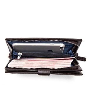 Image 5 - BISON DENIM luksusowej marki długi portfel męski posiadacz karty Cowskin męska torebka kieszeń na suwak jakości męska kopertówka z prawdziwej skóry N8206