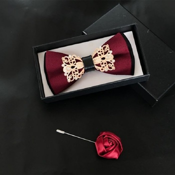 2020 New Fashion Men's Bow Ties Wedding Double Fabric Cotton Wine Red Bow Tie Banquet Formal Suit Butterfly Tie with Gift Box
