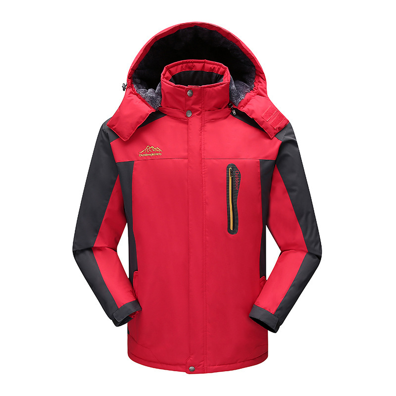 Winter New Large Size Thickened Outdoor Hooded Men's Mid-length Climbing Cycling Clothing