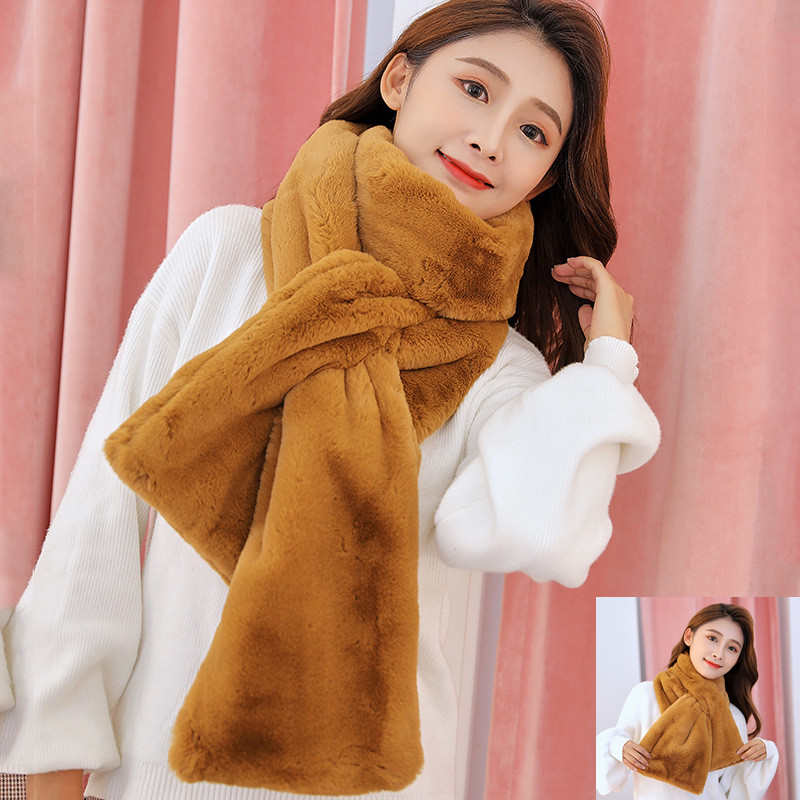 Newest Women Scarf Winter Faux Fur Rabbit Pink Long Thickness Plush Warm Comfortable Soft Wrap Collar Shawl Shrug For Coat Dress