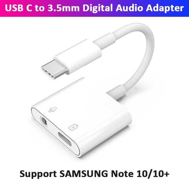Typ C ładowanie i słuchawki 2 w 1 Adapter w/ DAC 3.5mm gniazdo słuchawkowe do SAMSUNG Note 10 pikseli Huawei OnePlus Xiaomi Oneplus