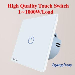 Image 2 - WELAIK Manufacture EU 1gang1way Wall Touch Switch Crystal Glass Panel Switch Wall Intelligent Switch Light Smart Switch  A1911CW