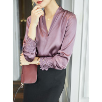 purple lace satin silk office blouse womens shirts and blouses 2020 summer elegant sexy boho long sleeve plus size palace loose