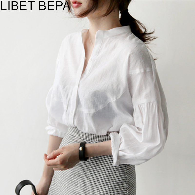 New 2020 Summer Women's Blouses Stand Collar Casual Lantern Sleeve Fashionable Single Breasted Shirts Office Lady  Tops BL1563
